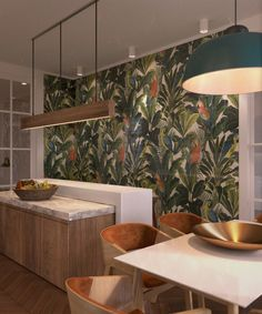 Tropical design wall opposite to clean white and natural wood kitchen - nice lighting combination Studio Apartments, Wall Design, House Design, Small Apartment Design, Kitchen Wallpaper, Green Wallpaper, Geometric Decor, Tropical Design, Cuisines Design