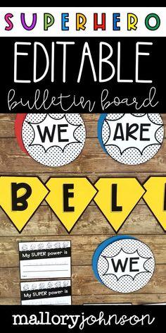 Superhero Bulletin Boards, Superhero Classroom Theme, Superhero Kids, Classroom Themes, First Week Of School Ideas, Hero Of The Day, Bullentin Boards, Motivational Words, Writing Activities