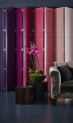 Mix dark moody shades with bright pops of colour to create a luxurious and dramatic feature in a room, add flowers and velvet to finish the look off perfectly. Perfect in living rooms and bedrooms Purple Interior, French Interior, Interior Paint, Wooden Shutters, Window Shutters, Made To Measure Blinds, Living Room Interior, Living Rooms, Paint Shades