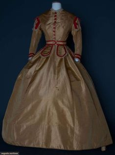 "mid 1860s 2-piece caramel faille, rose pink ribbon & bobbin lace trim, B 36"", W 28"", (scattered brown pea size stains on skirt back, 1 larger in front) very good."