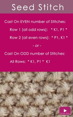 How to Knit the Seed Stitch Easy Free Pattern with Studio Knit via @StudioKnit