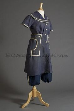 Blue wool bathing suit, ca. 1915. (Collection of the Kent State University Museum, 1985.42.9)