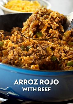 This Arroz Rojo with Beef features ground beef, onion, and peppers to make a comforting and delicious one-skillet entrée. This tasty dish will spice up your weeknight dinner routine! Entree Recipes, Beef Recipes, Dinner Recipes, Rice Recipes, Skillet Dinners, Skillet Recipes, One Pot Meals, Main Meals, Creamed Onions