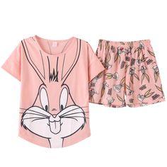 Buy Pajamas Sets Short Pants Short Sleeve Tops Cotton Nightwear Big Size M-XXL  Cute Cartoon Pyjamas Women Summer Sleepwear 5d2a0db31