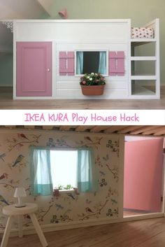 Let's play house! A bunk bed converted to playhouse - Kinderzimmer ideen Lets play house! A bunk bed converted to playhouse An adorable little house from the IKEA KURA. Kura Cama Ikea, Ikea Kura Hack, Ikea Loft Bed Hack, Kid Beds, Bunk Beds, Murphy-bett Ikea, Diy Bett, Murphy Bed Plans, Big Girl Rooms