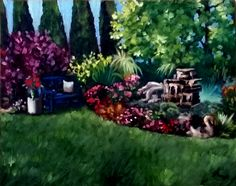 """The Garden Walk"" Oil by Mary Lanka, artist and member of the Gallery Uptown in Grand Haven, Michigan Grand Haven, Wood Glass, Wearable Art, Painting & Drawing, Jewelry Art, Michigan, Mary, Pottery, Oil"