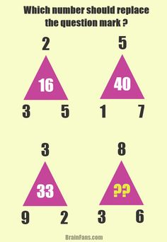 Brain teaser - Number And Math Puzzle - easy math puzzle - What number should replace the question mark? Consider four triangles, each with different numbers in its corners. Apply your math skills to solve this puzzle!