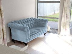 My vintage baby Chesterfield sofa. Re-coloured to Dulux Five Fingers Peninsula.