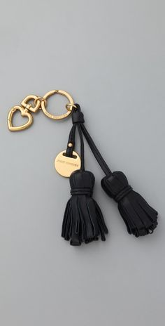 Juicy Couture Leather Tassel Keychain in Gold (steel) | Lyst
