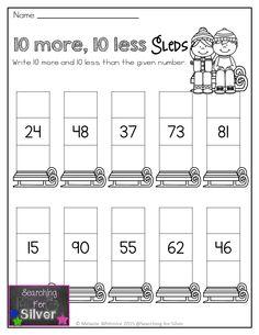 10 more, 10 less and other winter first grade NO-PREP printables! Math Literacy, Homeschool Math, Math Classroom, Fun Math, Teaching Math, Teaching Time, Maths, Second Grade Math, First Grade