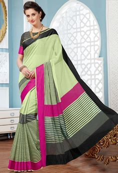 Picturesqur Pista Green Cotton Saree