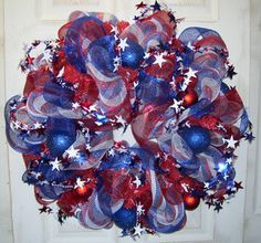 4th of july mesh wreaths for sale | ... White and Blue Deco Mesh Stars Stripes Wreath Fourth of July | eBay