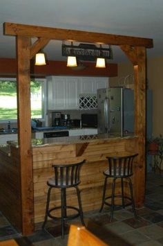 Custom metal art for your home, ranch or business. Custom ranch signs, gates, and balcony panels. House Design, House, Country Kitchen Flooring, Kitchen Remodel Small, Log Home Interiors, Bars For Home, Timber House, Kitchen Design, Rustic House