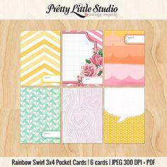 FREE JULY Freebie | Rainbow Swirl Pocket 3x4 Cards - Pretty Little Studio - The Pocket Source