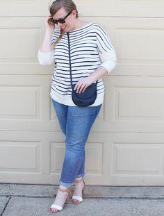 DIY FATSHION - stripes, boyfriend jeans, zara sandals, plus size, fatshion