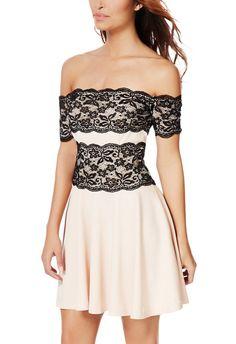 Off Shoulder Lace Dress - JustFab