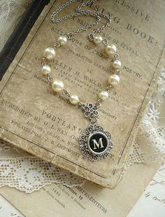 Typewriter Key Jewelry - Black Letter M Necklace. Vintage Typewriter Key Necklace. Antique Silver Filigree & Pearls. Monogram Necklace. via Etsy