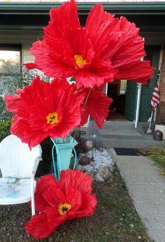 Large Tissue Paper FlowersGiant PoppiesFully Opened Ready to
