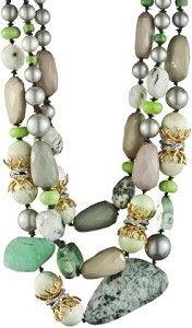 green necklace - pearls and semi-precious stones