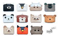 animal kingdom - handmade leather card case