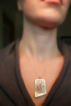 Brushed Tapered Tree of Life Necklace  by UndergroundDesigns, $64.00