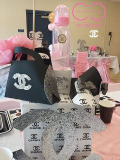 Lovely decor at a CHANEL Baby Shower Party!  See more party ideas at CatchMyParty.com!