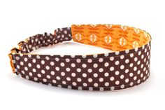 Brown Fabric Headband  Brown Polka Dot and Orange by PICKLEBUG