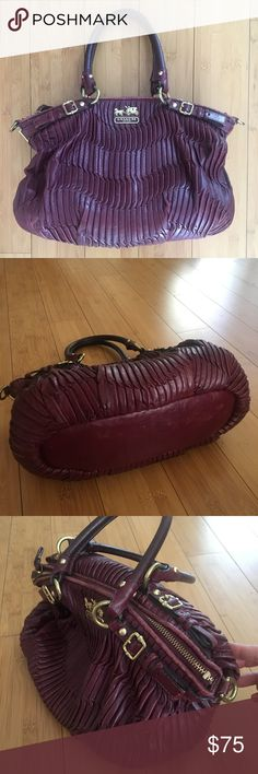 Coach Madison Bordeaux Bag purse Sophia handbag Beautiful authentic Coach handbag in Bordeaux color. Sophia design. Inner zip pocket and two open pockets. Zip closure. This bag has some wear to the leather and is missing the long shoulder strap but is still in excellent shape. Coach Bags