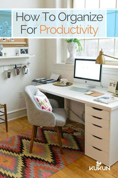 Did you know that having a messy study can reduce your focus? Organize your spaces for maximum productivity with this easy guide! [Organization Tips, Study Spaces, Study Room Organization, Home Office Organization Ideas, White And Bronze Palette, White Desk, Striped Armchair, Wall Molding]