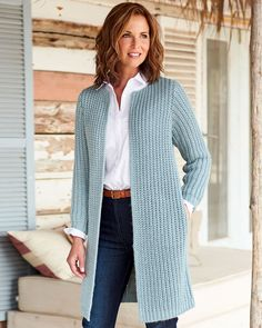 Cotton Traders Women's Longline Cable Cardigan in Green - Products Crochet Coat, Crochet Cardigan Pattern, Crochet Jacket, Crochet Clothes, Knitted Coat Pattern, Lace Knitting Patterns, Knitting Tutorials, Crochet Granny, Stitch Patterns