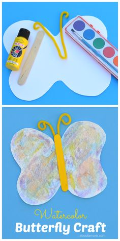 Watercolor butterfly craft for kids free printable butterfly template