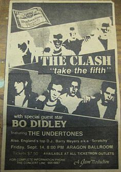 The Clash, Bo Didley, The Undertones @ Aragon Ballroom, Chicago, September 1979 Oak Park Chicago, Chicago Area, Topper Headon, Fever Ray, Rock Band Posters, The Future Is Unwritten, Top Dj, Mick Jones, Bands