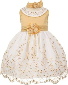 Flower Girl Sleeveless Rounded Neck Embroidery Baby & Infant Dress Gold 6M CH.555