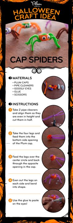 """#Halloween is around the corner! Get in the spirit with this crafty """"re-cap"""" activity turning pouch caps into spooky spiders! #crafts #spiders #DIY #craftideas #halloweendecorations"""