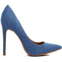 Dark Blue Denim Pumps ($37) ❤ liked on Polyvore featuring shoes, pumps, heels, dark blue denim, pointy toe shoes, pointed-toe pumps, denim pumps, synthetic shoes and high heel pumps