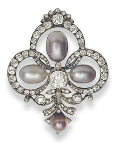 AN ANTIQUE PEARL AND DIAMOND BROOCH, BY MELLERIO   Designed as an openwork old-mine cut foliate plaque, centering upon a larger old mine-cut diamond, extending three drop-shaped pearls, ranging in color from silvery gray to purplish gray, measuring approximately 11.00 x 8.10 mm, 9.80 x 6.90 mm, and 9.20 x 7.00 mm, suspending a purplish reddish brown button pearl, measuring approximately 6.55 mm, with an old mine-cut diamond cap, mounted in silver and gold, circa 1890. Signed Mellerio Paix
