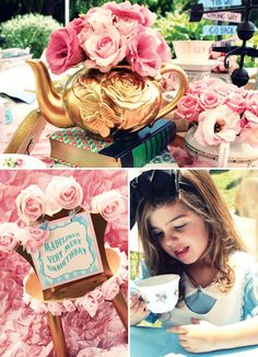 Vintage Alice in Wonderland Tea Party // Hostess with the Mostess? Alice in wonderland pastels theme birthday party ideas Mad Hatter Party, Mad Hatter Tea, Tea Party Birthday, Girl Birthday, Birthday Ideas, Princesa Sophia, Alice Tea Party, Alice In Wonderland Tea Party, Baby Shower