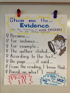 Common Core: Text Evidence Show me the evidence- Evidence Anchor chart Evidence Anchor Chart, Writing Anchor Charts, Text Evidence, Grammar Anchor Charts, Citing Evidence, Reading Strategies, Reading Skills, Reading Comprehension, Reading Response