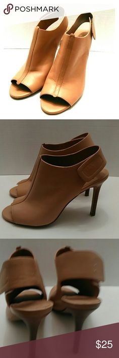 "Charles David  tan heels Cute open toe heels with Velcro closure sling back, leather 4"" heels. Shoes in good condition Charles David Shoes Heels"
