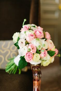 ranunculus and rose bouquet, photo by Mustard Seed Photography http://ruffledblog.com/romantic-paris-elopement #weddingbouquet #flowers