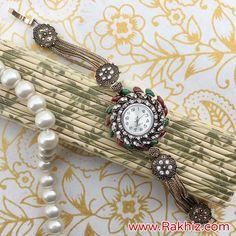 Product Description: Graceful Watch Rakhi Gift For Bhabhi Send Rakhi To India, Buy Rakhi Online, Rakhi Design, Rakhi Gifts, Online Gifts, Bracelet Watch, Product Description, Jewels, Flower