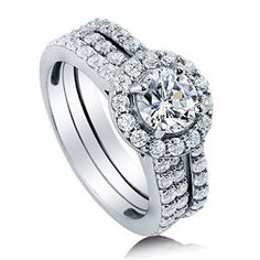 Sterling Silver 2.11 ct.tw Round Cubic Zirconia CZ Halo Engagement Wedding Bridal Ring Set by BERRICLE Available at joyfulcrown.com