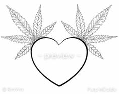 Items Similar To Printable Adult Color Page Heart Cannabis Marijuana Mary Jane Leaf Line Drawing Large