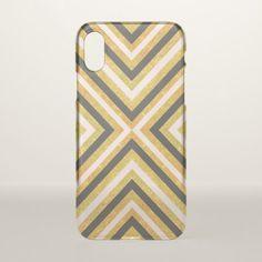 Gold glitter pink black triangles chevron pattern iPhone x case - pattern sample design template diy cyo customize