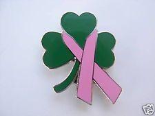 Pink Ribbon Shamrock Breast Cancer Lapel Pin