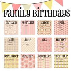 """Family Birthday Calendar - Digital copy you print in """"Pink Lemonade"""" Homemade Gifts, Diy Gifts, Great Gifts, Just Love, Family Birthday Calendar, Craft Projects, Projects To Try, Custom Calendar, Font Combinations"""