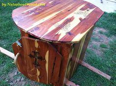 Outdoor cedar cabinet. Storage, table