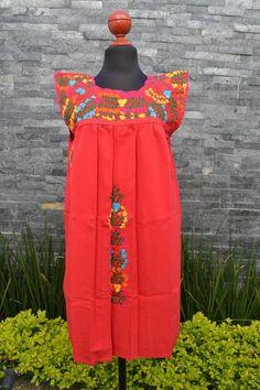 Chiapas Flowered Dress Huipil Dress Mexican Dress   Etsy Mexican Embroidered Dress, Embroidered Clothes, Mexican Dresses, Short Dresses, Summer Dresses, Ethnic Dress, Mexican Style, Handmade Clothes, Flower Dresses