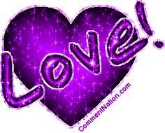 Purple Glitter Happy Valentine's Day | Glitter graphic of a purple heart with the comment: Love!