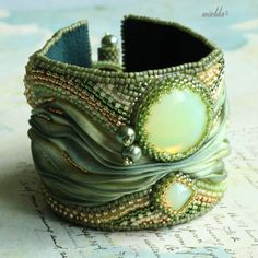 Green and Gold Bead Embroidered Bracelet with por beadedmischka, $129.00